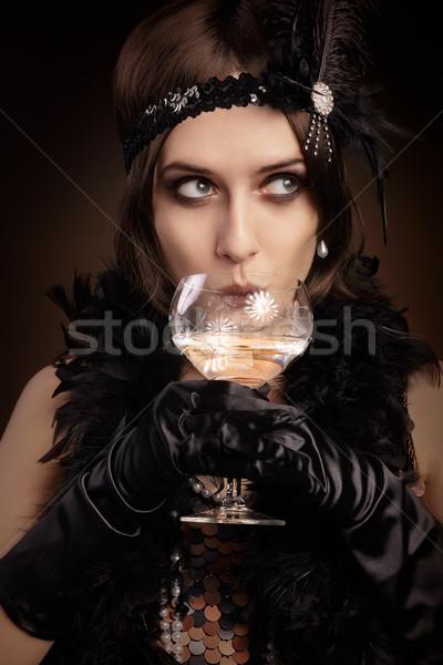 Photo stock: Rétro · 20s · style · femme · potable · champagne