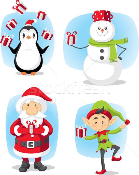 Christmas Characters Set Vector Cartoon Stock photo © NicoletaIonescu