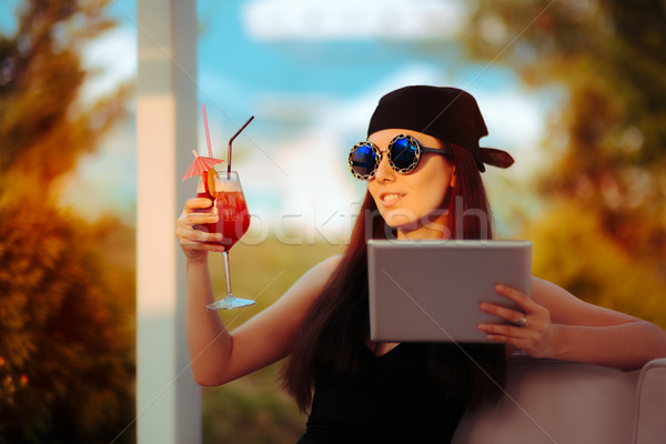 Summer woman Wearing Bandana and Sunglasses with PC Tablet Stock photo © NicoletaIonescu