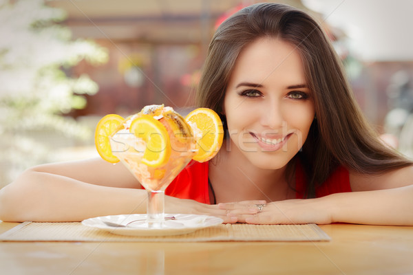 Happy Young Woman and Summer Dessert  Stock photo © NicoletaIonescu