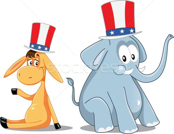 Democrat Donkey and Republican Elephant Vector Election Cartoon Stock photo © NicoletaIonescu