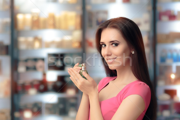 Foto stock: Sorrindo · retro · perfume · garrafa · beautiful · girl