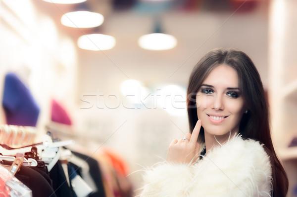 ショッピング 女性 白 毛皮のコート ファッション ストア ストックフォト © NicoletaIonescu