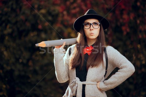 Zdziwiony student fedora okulary plecak Zdjęcia stock © NicoletaIonescu
