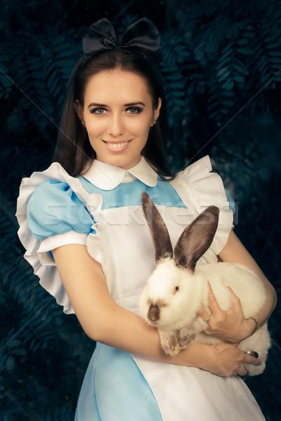 Lány csodaország fehér nyúl portré mosolyog Stock fotó © NicoletaIonescu