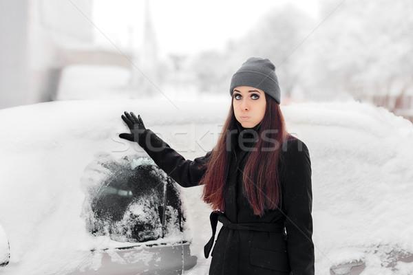 üzgün kadın kar araba pencere komik Stok fotoğraf © NicoletaIonescu