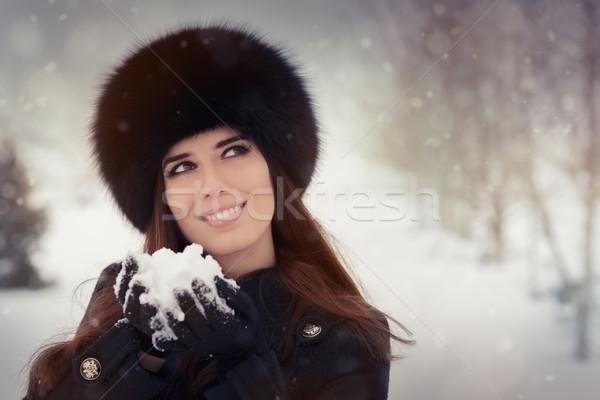 играет снега зима портрет Сток-фото © NicoletaIonescu