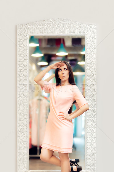 Surprised Fashion Girl in Pink Dress Stock photo © NicoletaIonescu