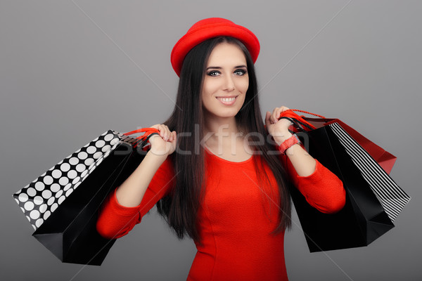 幸せ ファッショナブル 女性 ショッピングバッグ かわいい 少女 ストックフォト © NicoletaIonescu