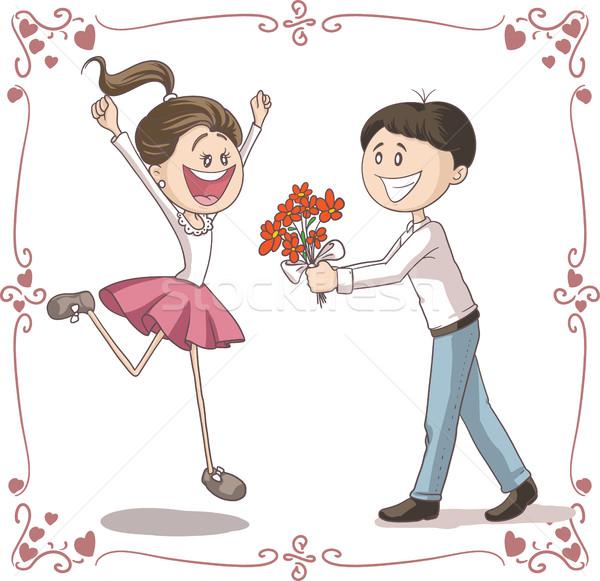 Man bloemen datum vector cartoon illustratie Stockfoto © NicoletaIonescu