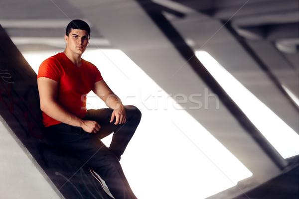 Portrait of a Handsome Athletic Man in Urban Decor Stock photo © NicoletaIonescu