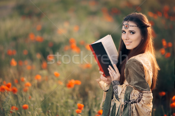 Medieval Reading a Book in a Magical Field of Poppies Stock photo © NicoletaIonescu