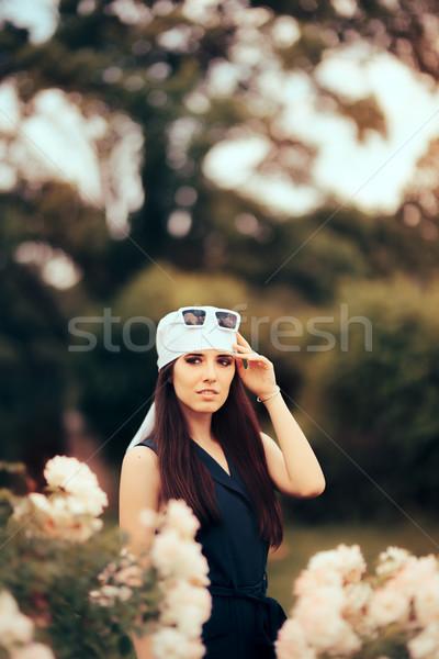 Fashion Woman Wearing Head Scarf and Retro Sunglasses 70's Style Stock photo © NicoletaIonescu