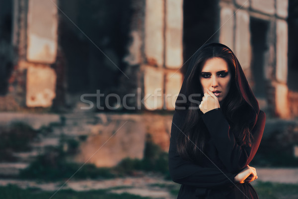 Mysterious Evil Vampire in Front of a Horror Abandoned House Stock photo © NicoletaIonescu