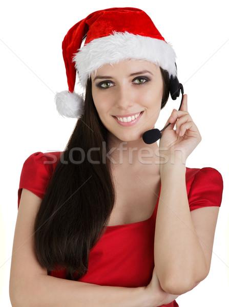 Christmas Call Center Girl  Stock photo © NicoletaIonescu