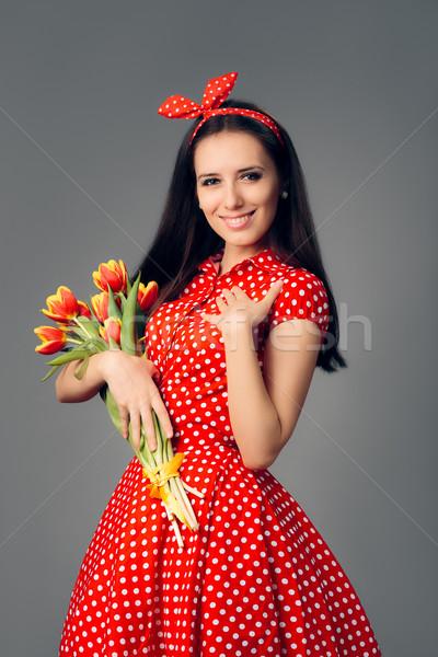 Cute fille rétro rouge polka robe Photo stock © NicoletaIonescu
