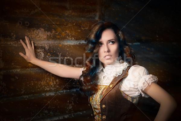Steampunk kız genç kadın bakıyor saç gözlük Stok fotoğraf © NicoletaIonescu