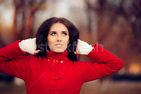 Stock foto: Herbst · Frau · tragen · rot · Mantel · gestrickt