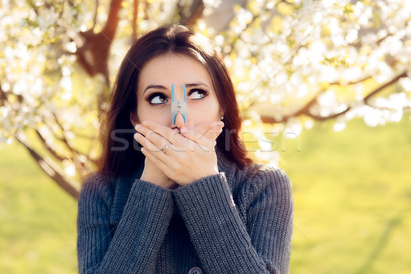 Funny Girl Trying Desperate Measures to Fight Spring Allergies Stock photo © NicoletaIonescu