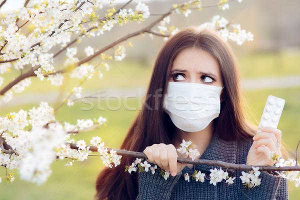 Mulher máscara primavera ao ar livre Foto stock © NicoletaIonescu