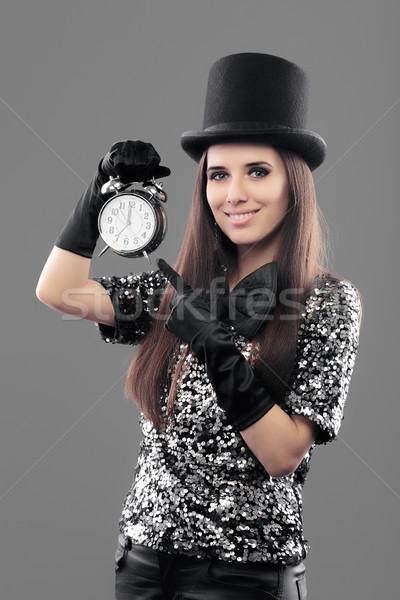 вечеринка женщину Top Hat будильник Новый год Сток-фото © NicoletaIonescu