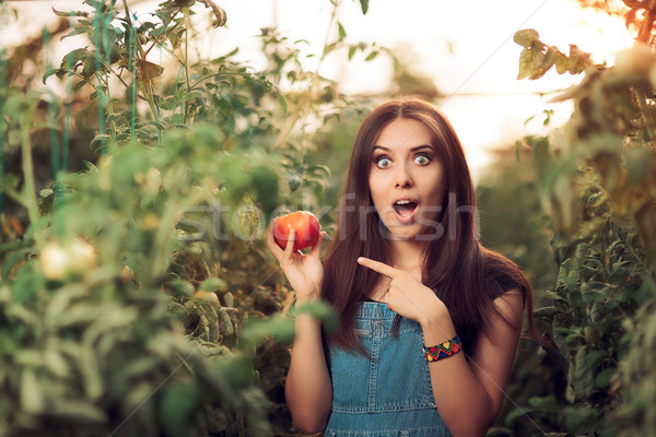 Stock photo: Surprised Farm Girl Holding a Tomato inside a Greenhouse