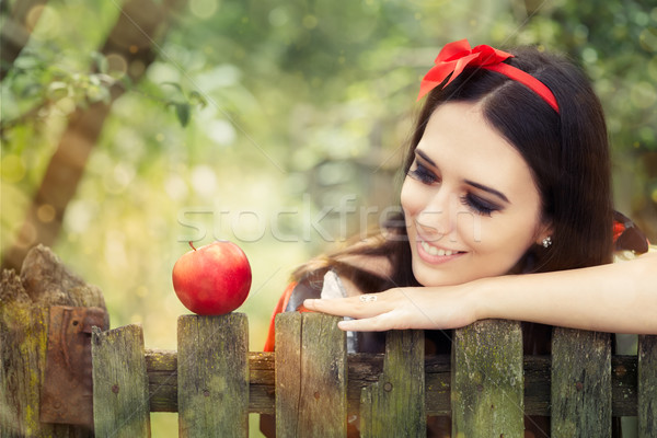 Snow White with Red Apple Fairy Tale Portrait  Stock photo © NicoletaIonescu