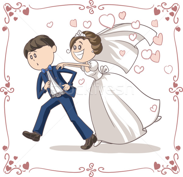 Running Groom Chased by Bride Funny Vector Cartoon Stock photo © NicoletaIonescu