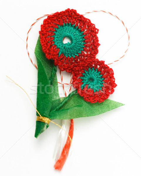 Crochê flor feito à mão decorativo objeto têxtil Foto stock © NicoletaIonescu