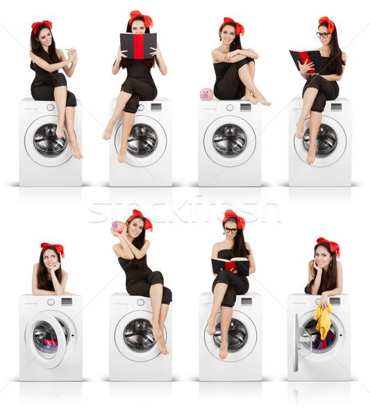 Cute Girl on Washing Machine Funny Collage Stock photo © NicoletaIonescu