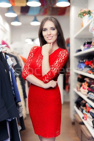 Nő visel piros csipke ruha divat Stock fotó © NicoletaIonescu