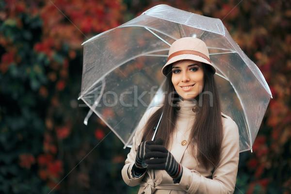 幸せ 女性 プラスチック 透明な 傘 秋 ストックフォト © NicoletaIonescu