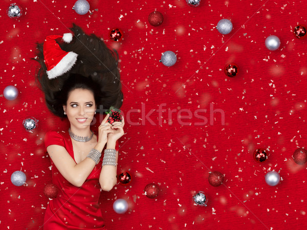 Happy Christmas Girl Holding a Mistletoe  Stock photo © NicoletaIonescu