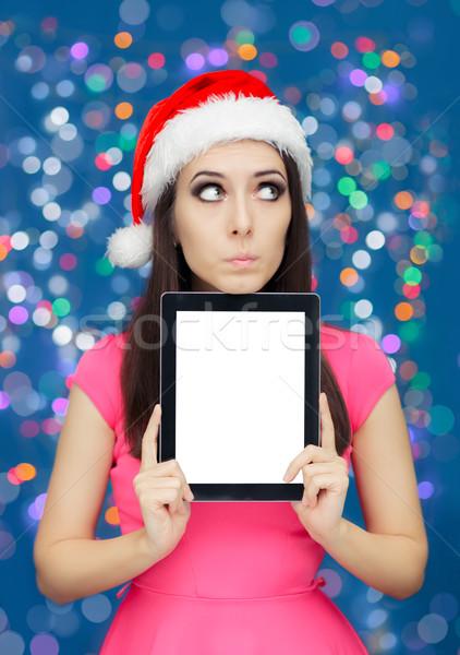 удивленный Рождества девушки таблетка женщину Сток-фото © NicoletaIonescu