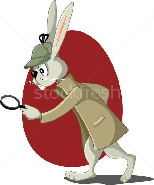 детектив кролик увеличительное стекло вектора Cartoon смешные Сток-фото © NicoletaIonescu
