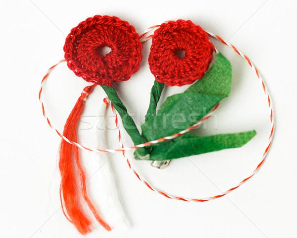 Horgolás virág kézzel készített dekoratív tárgy textil Stock fotó © NicoletaIonescu