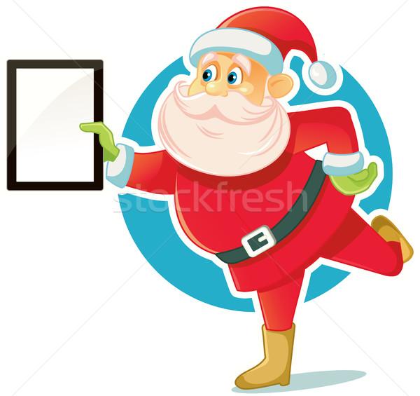 Santa Claus Holding PC Tablet Vector Illustration Stock photo © NicoletaIonescu