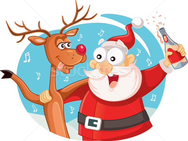 Santa Claus and his Reindeer Drinking and Celebrating Christmas Stock photo © NicoletaIonescu
