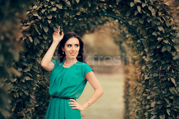 Beautiful Elegant Woman Attending Formal Party in the Garden Stock photo © NicoletaIonescu