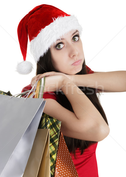 Christmas Girl Shopping Bags Pouting Stock photo © NicoletaIonescu
