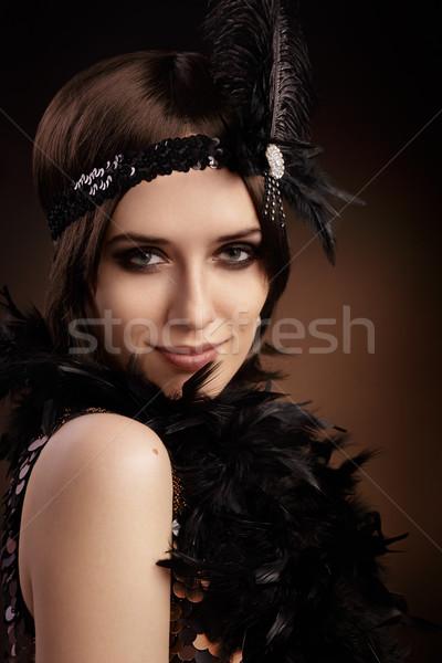 Mooie retro vrouw 20s stijl partij Stockfoto © NicoletaIonescu
