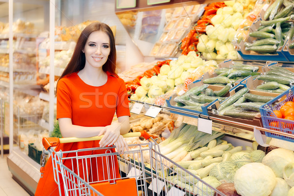 Happy Woman Shopping  at the Grocery Store Stock photo © NicoletaIonescu
