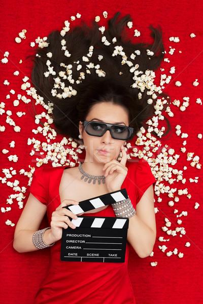 困惑して 少女 3D 映画 眼鏡 ポップコーン ストックフォト © NicoletaIonescu