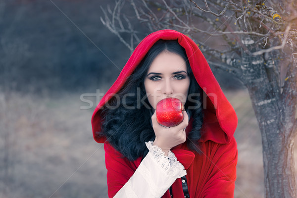 Red Hooded Woman Holding Apple Fairytale Portrait Stock photo © NicoletaIonescu