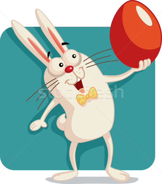 Happy Bunny Holding an Easter Egg Vector Cartoon Stock photo © NicoletaIonescu