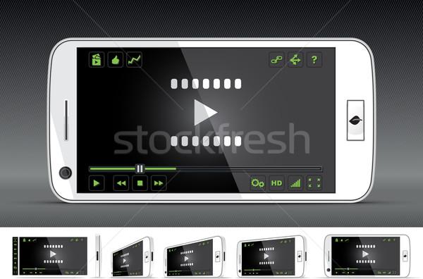Branco vídeo jogador múltiplo interface Foto stock © NicoletaIonescu
