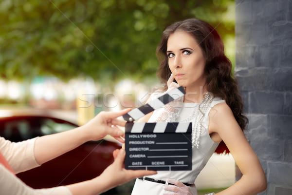 Actrice denken volgende lijn film jonge Stockfoto © NicoletaIonescu