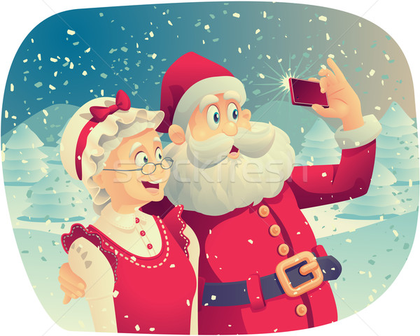 Santa Claus and Mrs. Claus Taking a Photo Together Stock photo © NicoletaIonescu