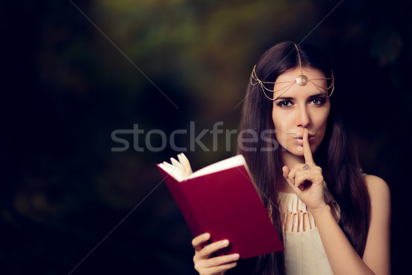 Fairy Princess Girl Reading Mysterious Secret Book Stock photo © NicoletaIonescu