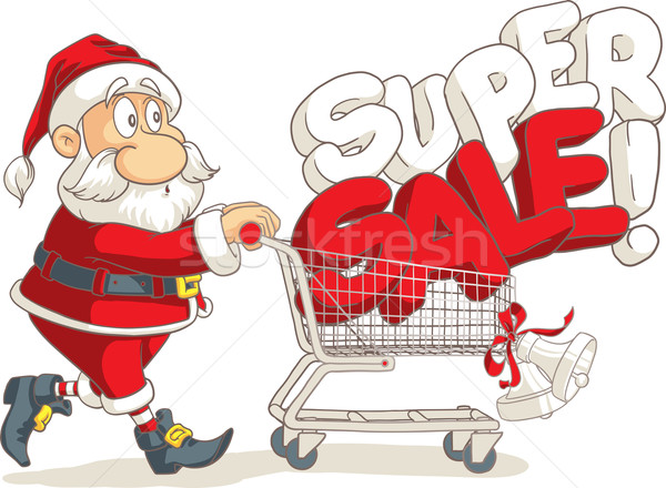 Дед Мороз супер продажи вектора Cartoon Сток-фото © NicoletaIonescu